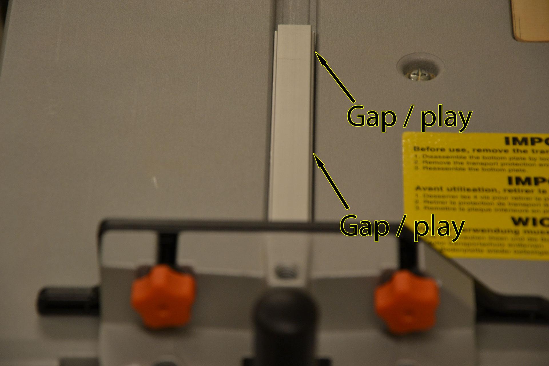 Mitre gauge gap