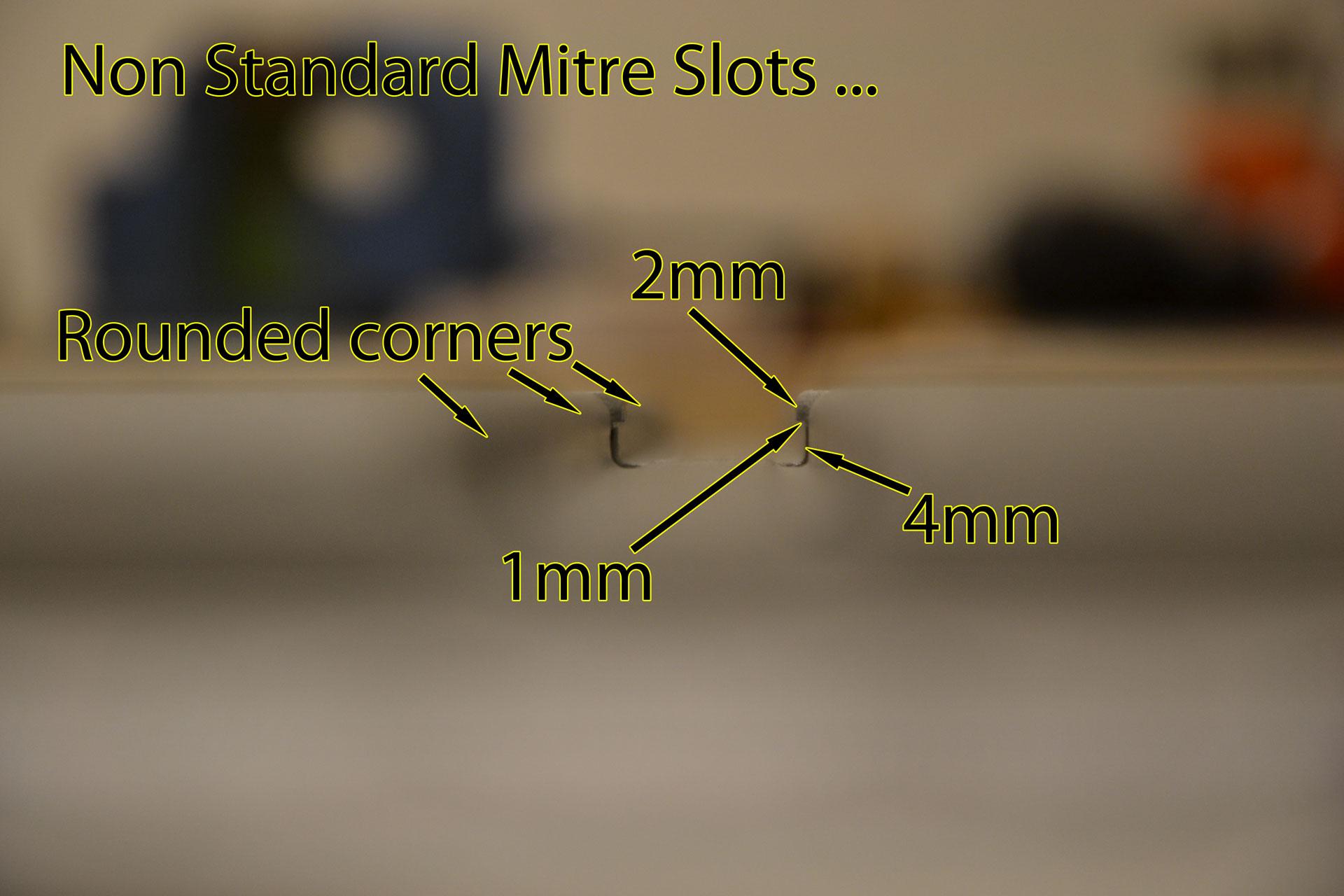 Mitre slots closeup