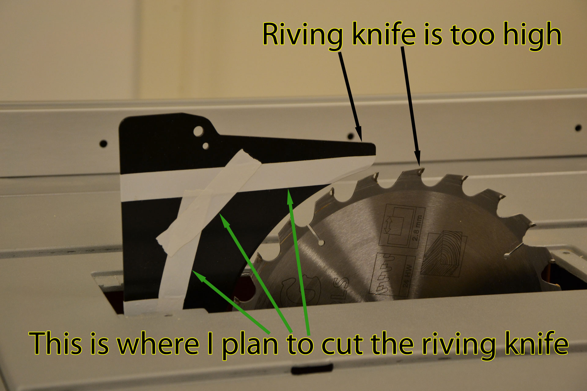 Riving knife height